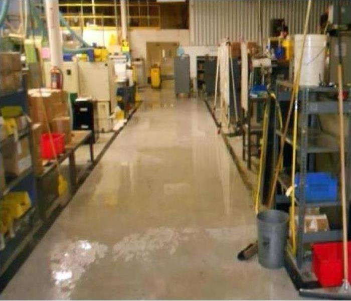 commercial building with floor water damage