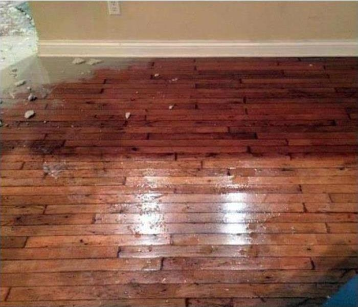 Hardwood flooring with water damage