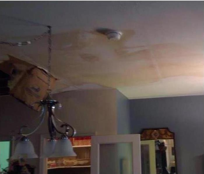 water damage present on home ceiling