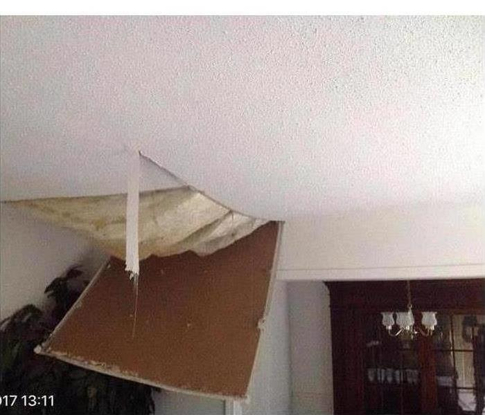 Ceiling damage after a storm